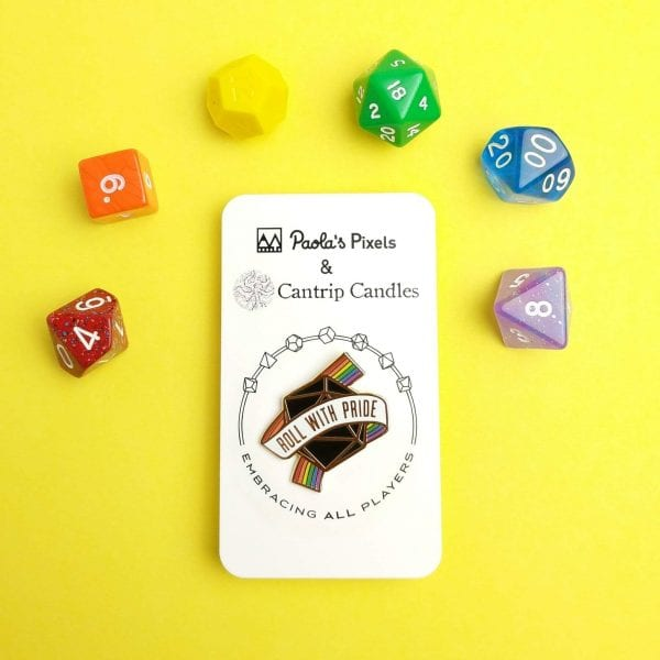 Dungeons & Dragons Roll For Pride Enamel Pin with Poly Resin Dice