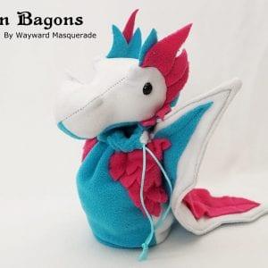 DnD Dice Bag - Bright Trans Pride Dragon 001