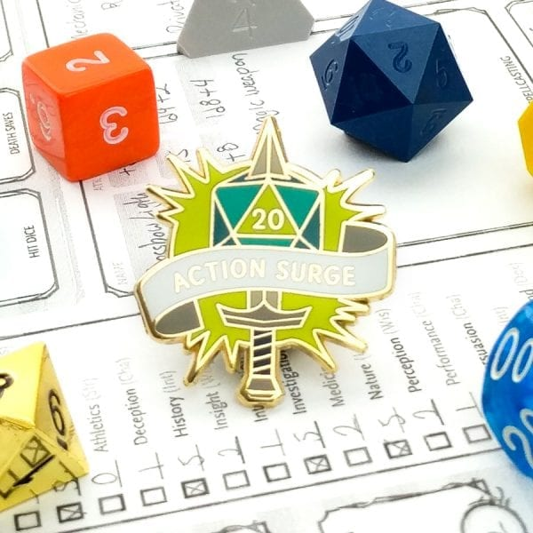 Dungeons and Dragons Fighter Action Surge Enamel Pin